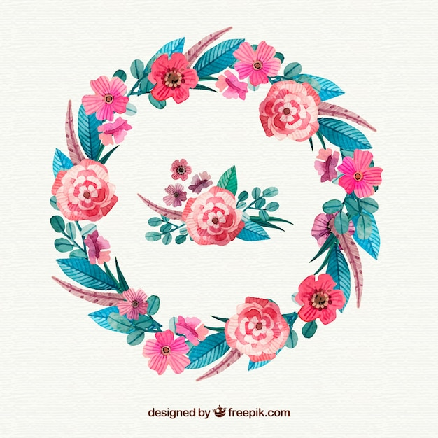 Watercolor floral frame with variety of flowers