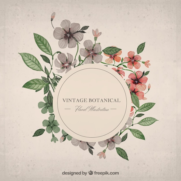 Watercolor floral frame Vector | Free Download