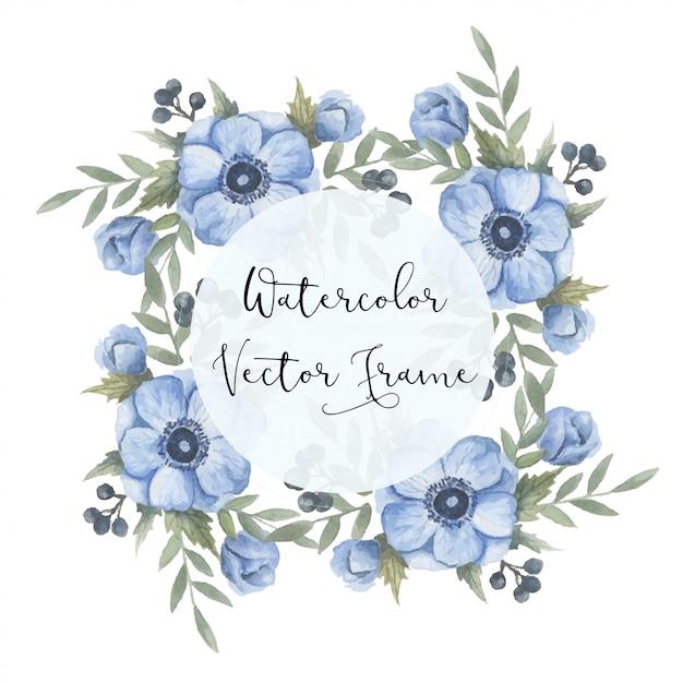 Watercolor floral frame Premium Vector