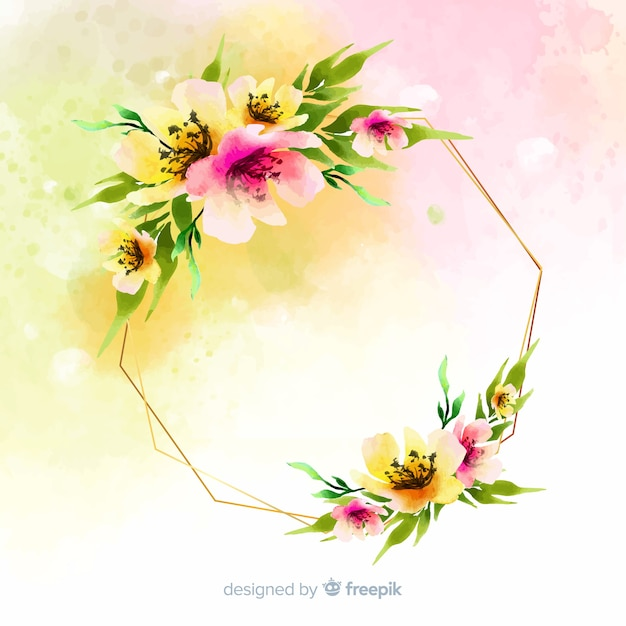 Watercolor Floral Geometric Frame Background Vector Free