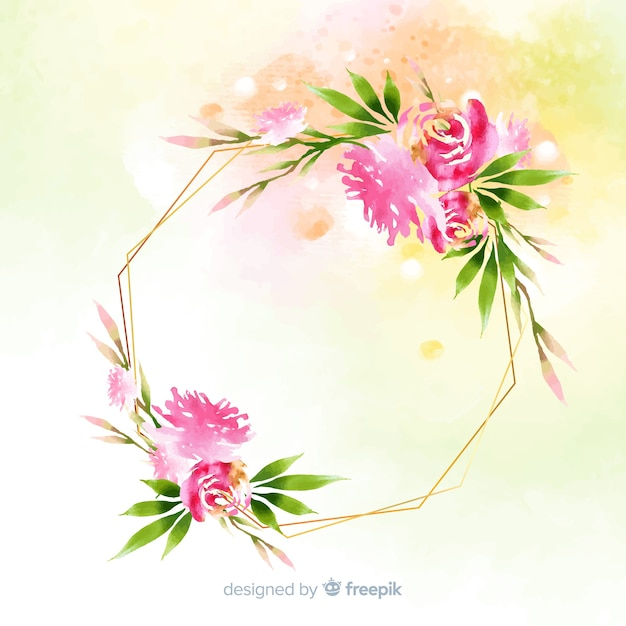 Watercolor floral geometric frame background Free Vector