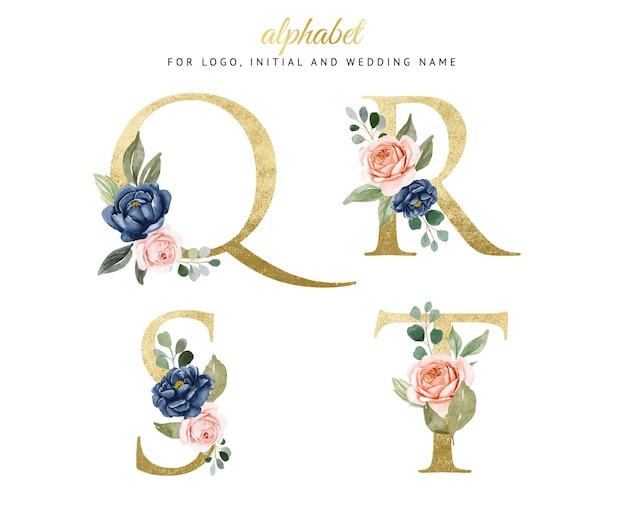 Акварель цветочные золотой алфавит набор q, r, s, t с темно-синими и персиковыми цветами. для логотипа, карточек, брендинга и т. д. Premium векторы