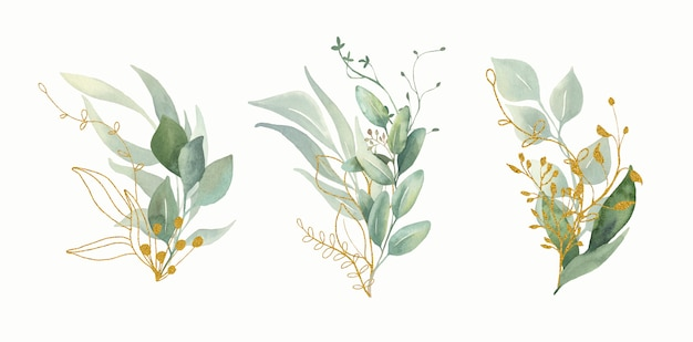 Watercolor floral green and gold leaf bouquets. Premium Vector
