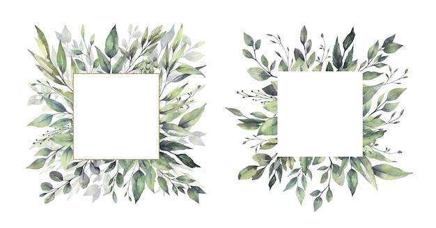 Watercolor floral green leaf frames. Premium Vector