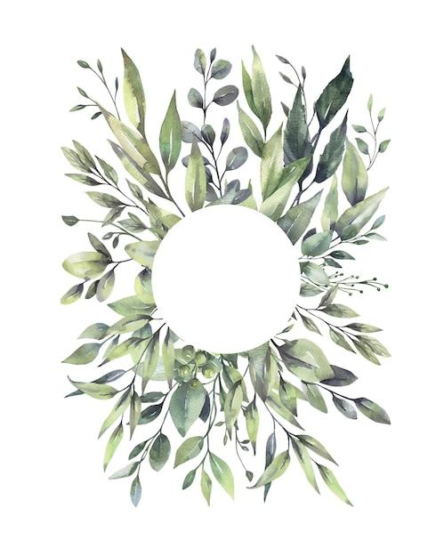 Watercolor floral green leaf wreaths. Premium Vector