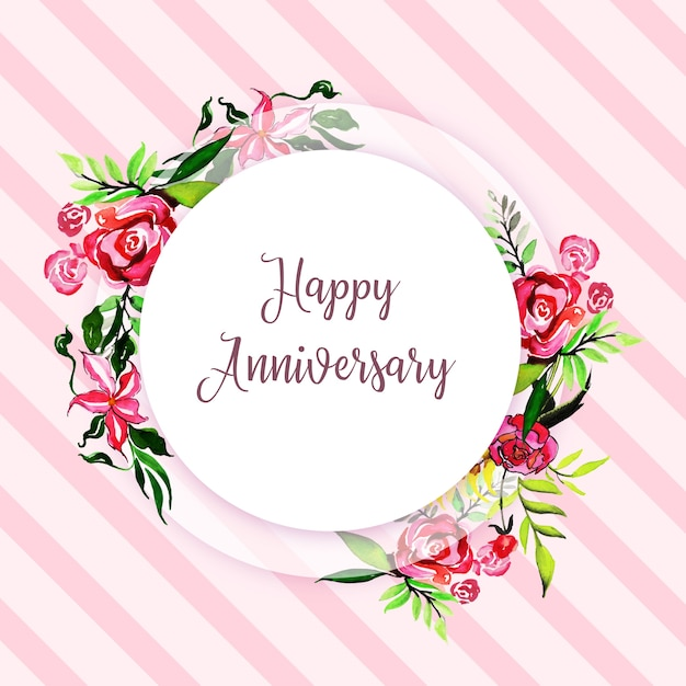 watercolor floral happy anniversary frame background vector free