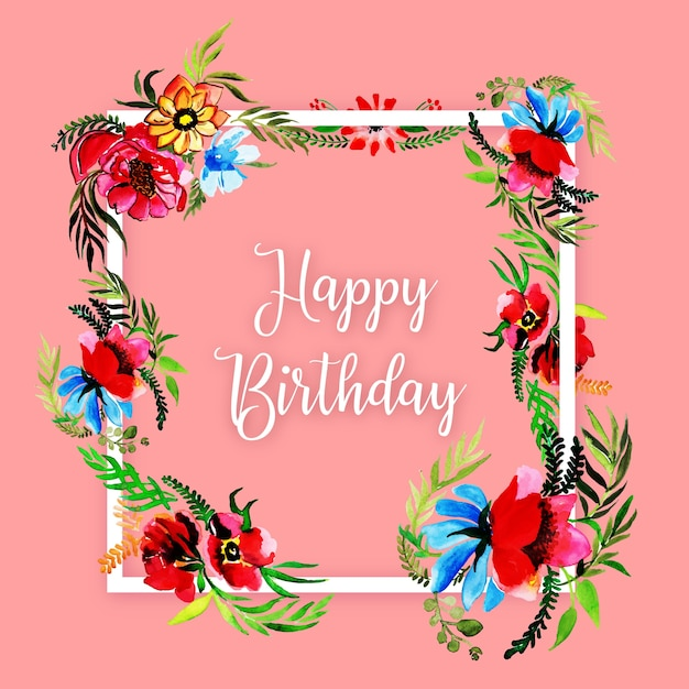 Watercolor Floral Happy Birthday Frame Background Vector   Premium ...