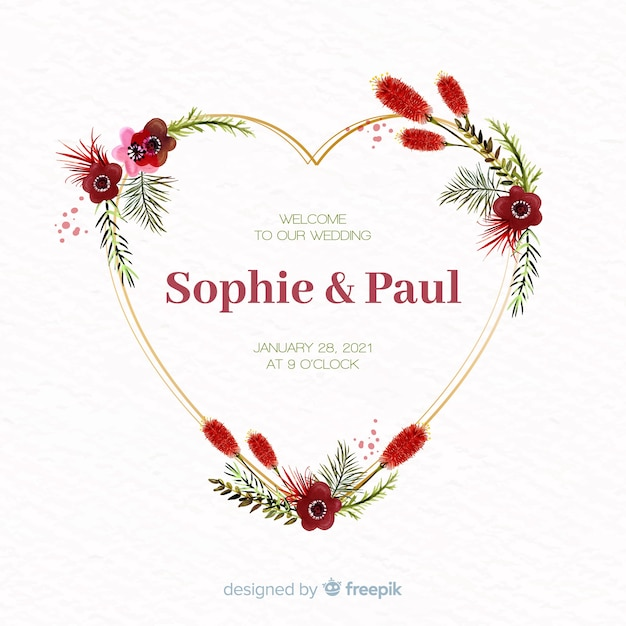Watercolor floral heart frame wedding invitation Free Vector