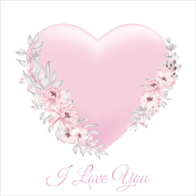 Watercolor floral hearts pink soft pastel Free Vector