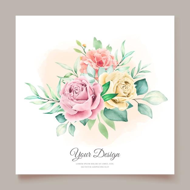 水彩花の招待カード 無料ベクター