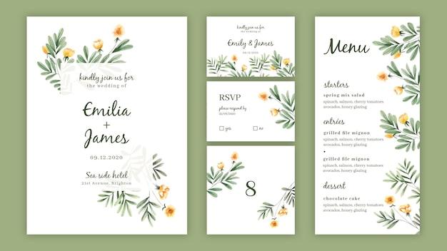 結婚式のための水彩花招待パックテンプレート 無料ベクター