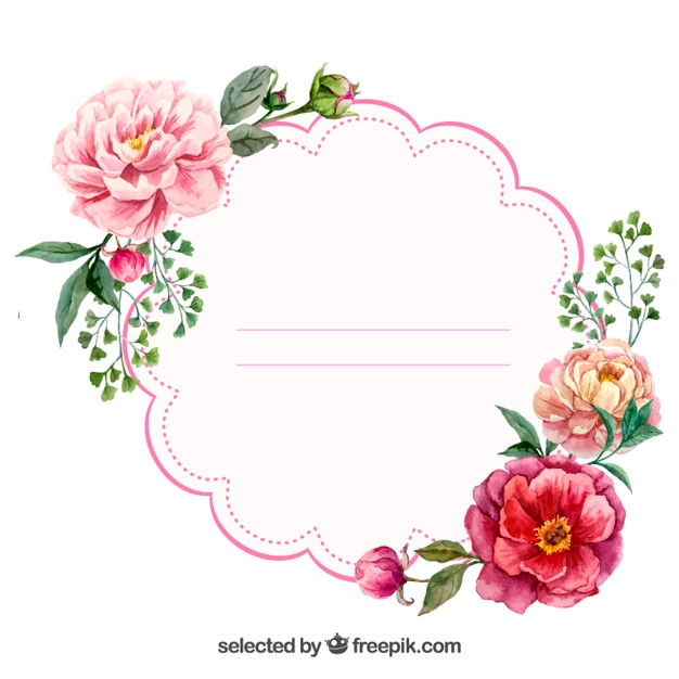 Watercolor floral label vector free download for Flower tags template free