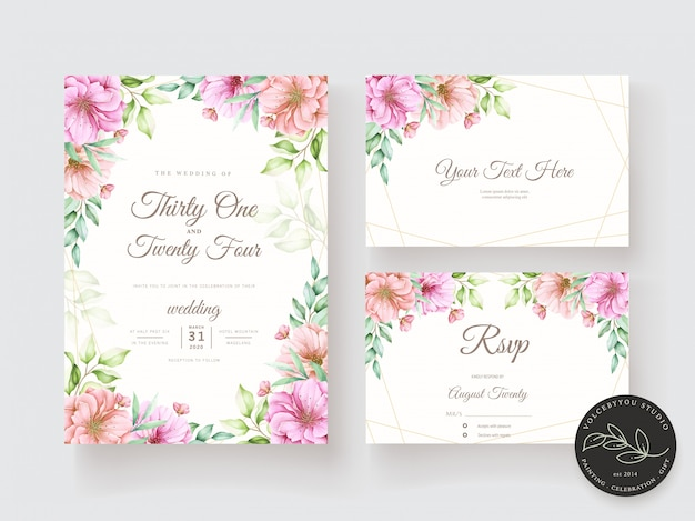 Watercolor floral and leaves invitation card set Free Vector