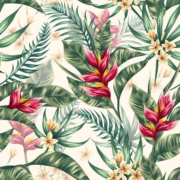 Watercolor floral leaves seamless pattern background Premium Vector