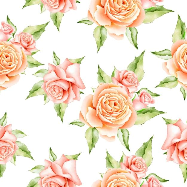Watercolor floral leaves seamless pattern Premium Vector