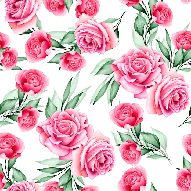 Watercolor floral and leaves seamless pattern Premium Vector