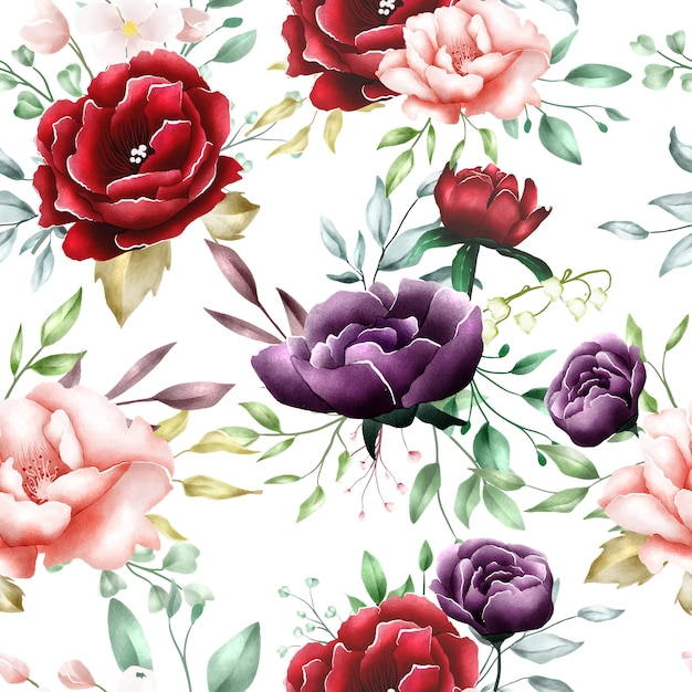 Watercolor floral leaves seamless pattern Premium Vector