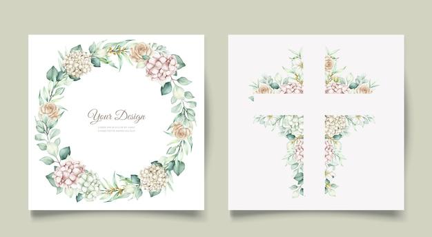 Acquerello floreale e foglie set di carte invito a nozze Vettore gratuito