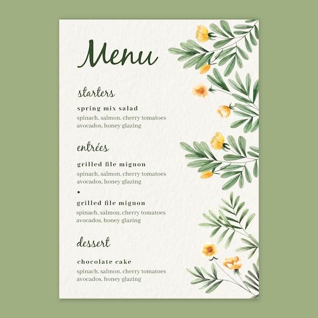 結婚式のための水彩花メニューテンプレート 無料ベクター