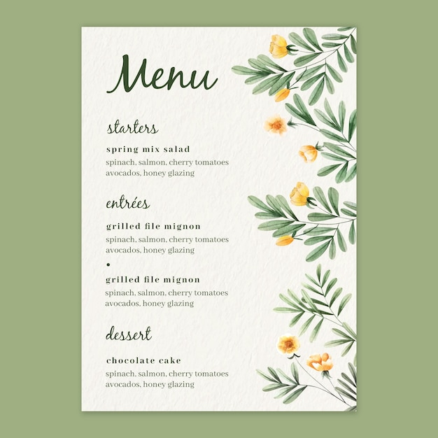 Watercolor floral menu template for wedding Premium Vector