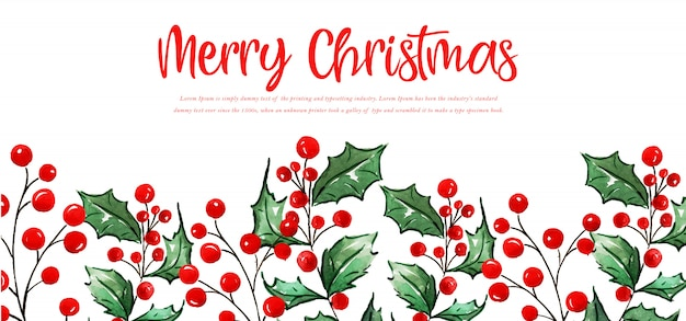 Watercolor floral merry christmas banner Premium Vector