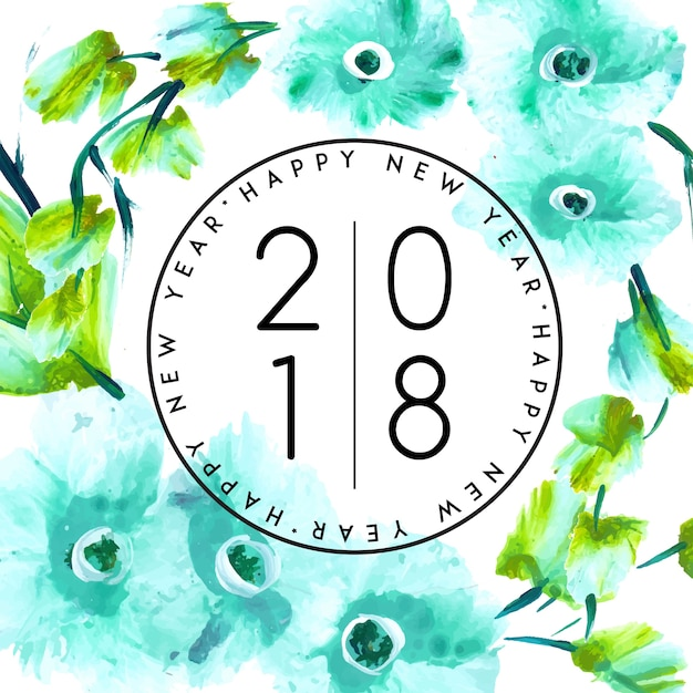 Watercolor Floral New Year 2018 Free Vector