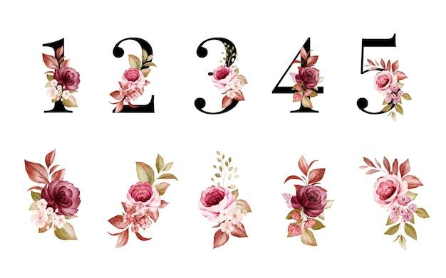 빨간색과 갈색 꽃과 잎이있는 1, 2, 3, 4, 5의 수채화 꽃 숫자 세트. 프리미엄 벡터