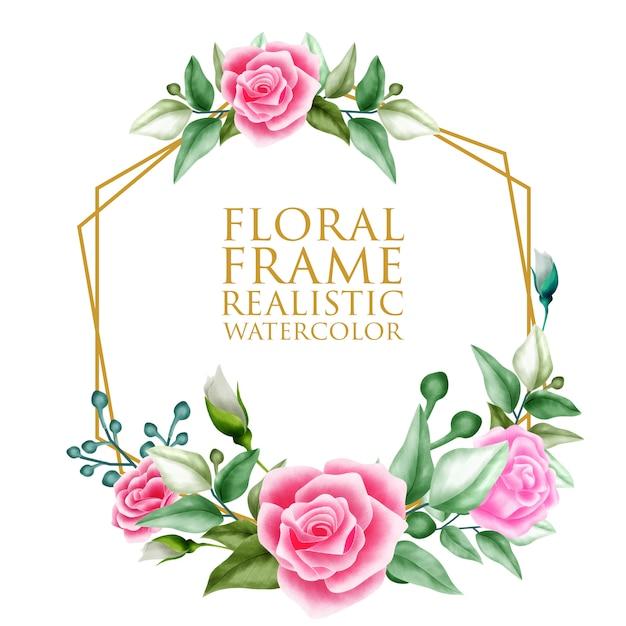Watercolor floral ornament frame background Premium Vector
