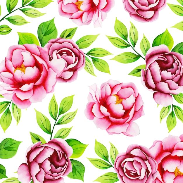 Watercolor floral pattern background Premium Vector