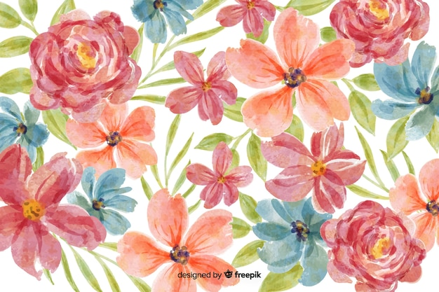 Watercolor floral pattern background Free Vector