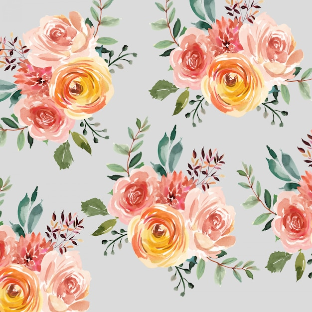 Watercolor floral pattern background Premium Vector