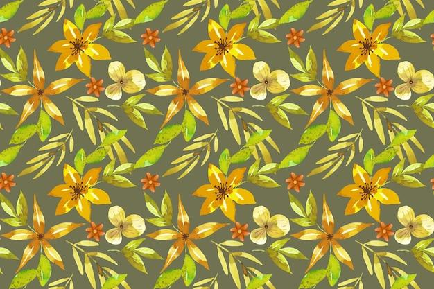 수채화 꽃 패턴 스타일 프리미엄 벡터