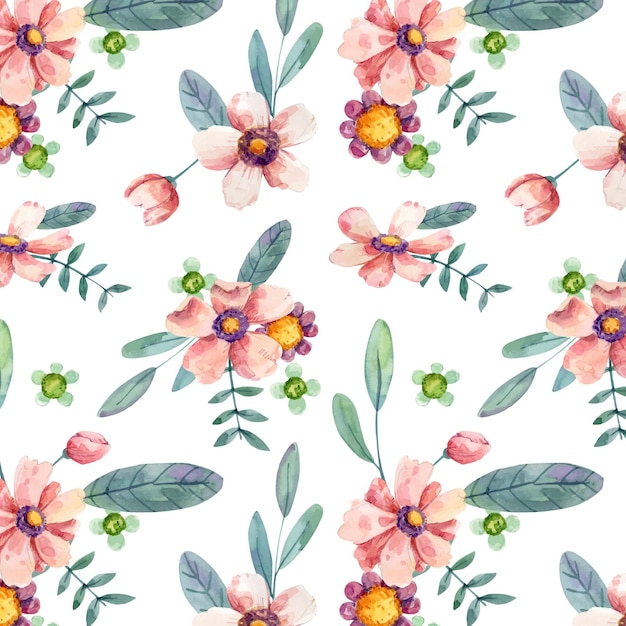 Watercolor floral pattern Premium Vector