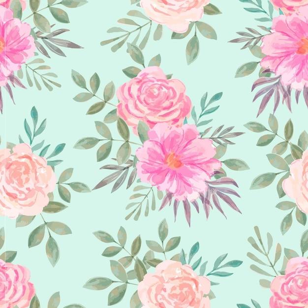 Акварельный цветочный узор Бесплатные векторы