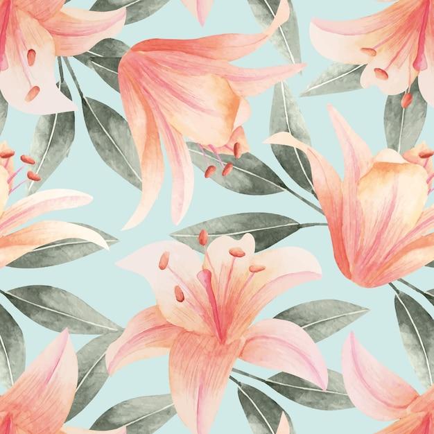 수채화 꽃 패턴 무료 벡터