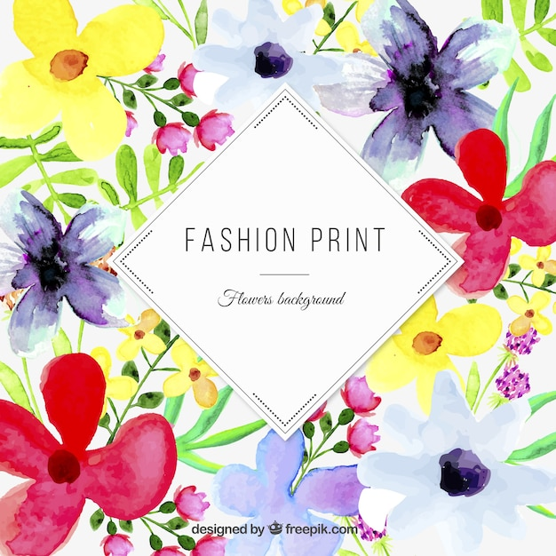 Watercolor floral print Vector | Free Download