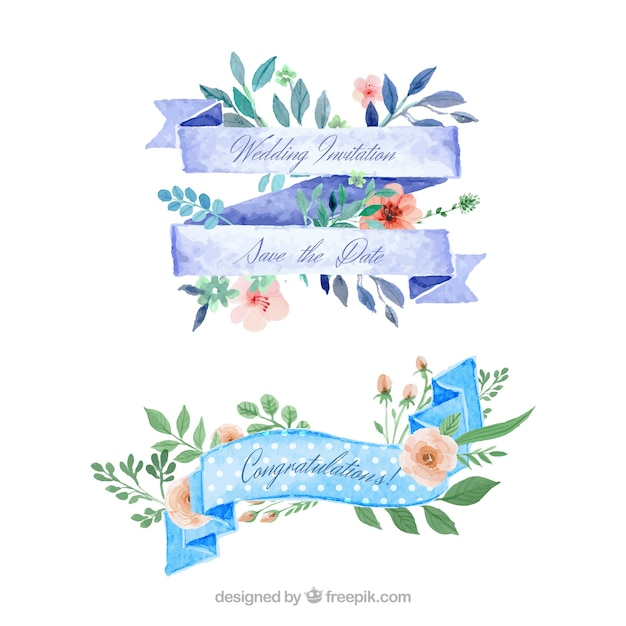 Watercolor floral ribbons for wedding Premium Vector