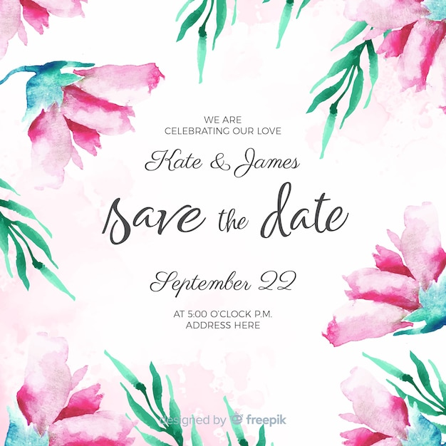 Watercolor Floral Save The Date Template Vector