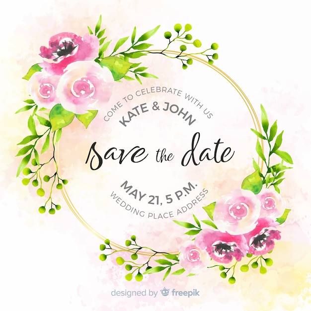 Watercolor floral save the date template Free Vector