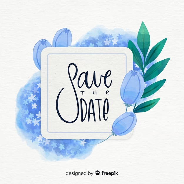 Watercolor floral save the date Free Vector