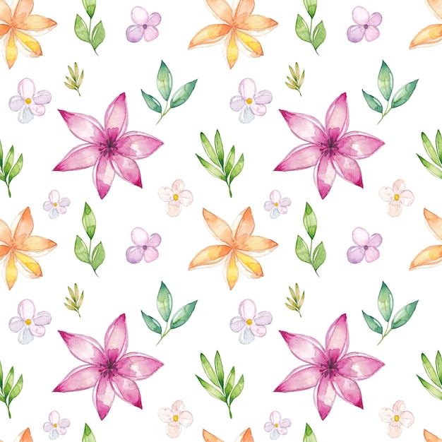Watercolor floral seamless pattern Premium Vector
