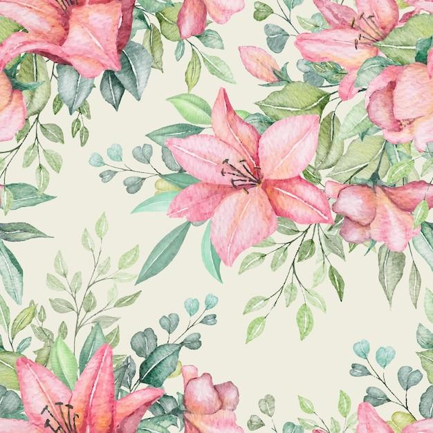 수채화 꽃 원활한 패턴 무료 벡터
