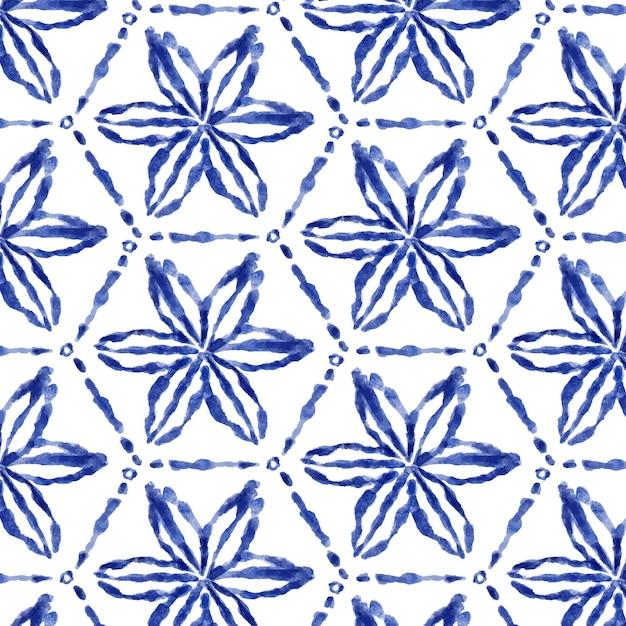 Акварель цветочный узор шибори Premium векторы