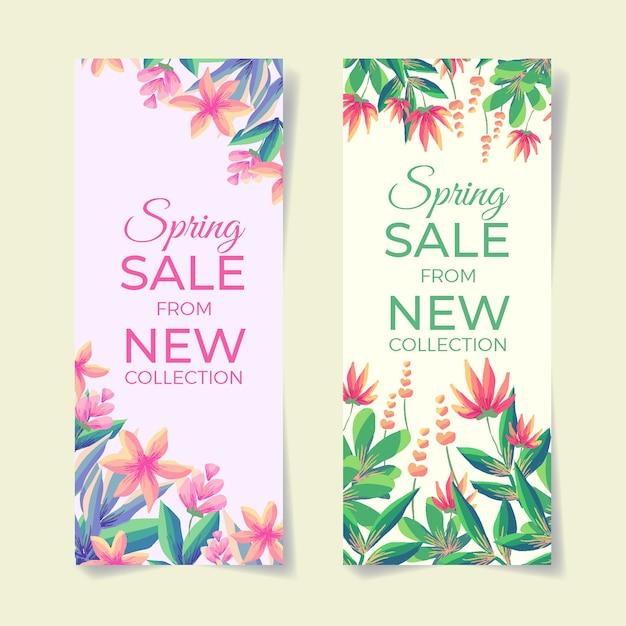 Акварельные цветочные весенние распродажи баннеры Бесплатные векторы