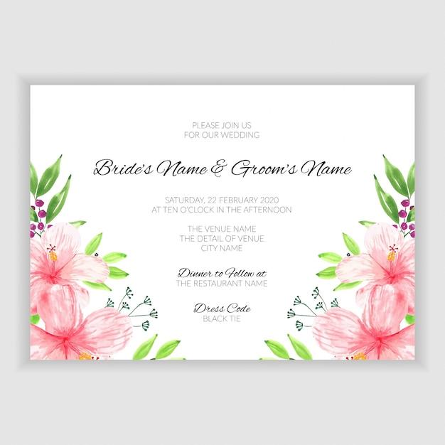 Watercolor Floral Summer Wedding Invitation Card Vector
