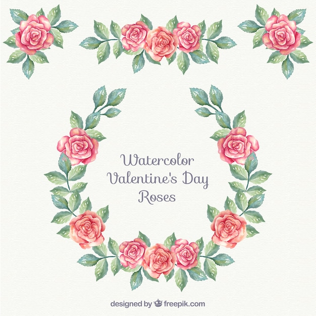 Watercolor Floral Valentine Ornaments Free Vector