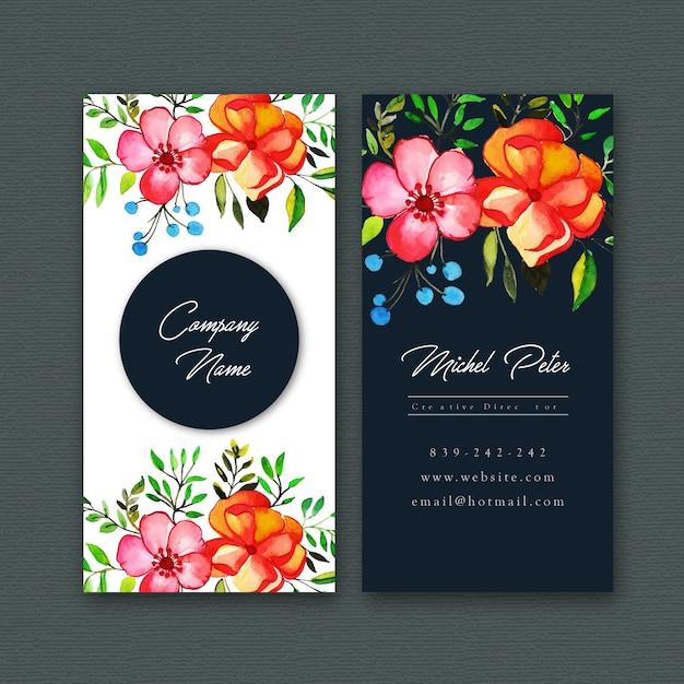 Watercolor Floral Visiting Card Template Free Vector