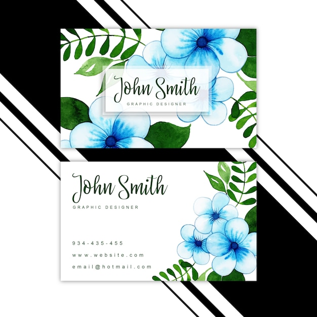 Watercolor floral visiting card Premium Vector