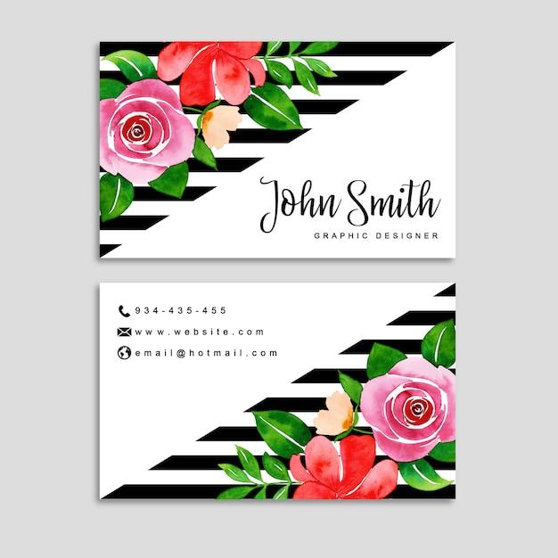 Watercolor floral visiting card Premium Vector
