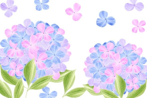 かわいいパステルカラーの水彩画の花の壁紙 無料ベクター